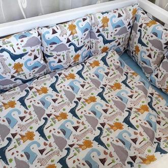 Комплект в детскую кроватку с динозаврами