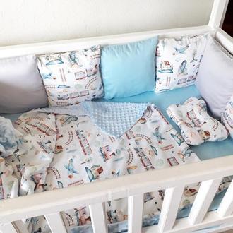 """Комплект в детскую кроватку для мальчика """"Паравозики"""""""
