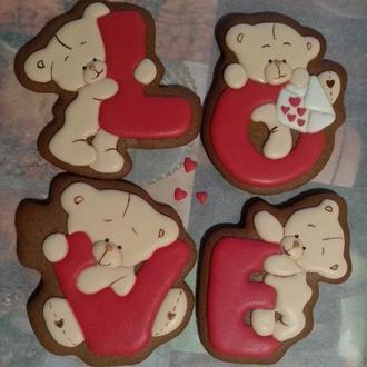 Набор имбирных пряников Love ко дню Святого Валентина