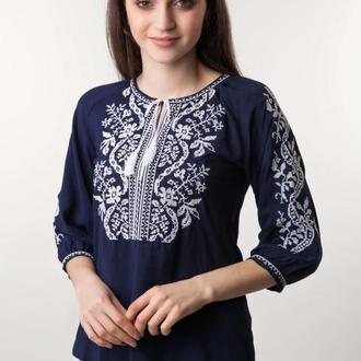 Вышиванка женская Волна синий штапель белая вышивка