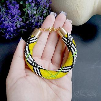 Желтый браслет из бисера В стиле Барберри