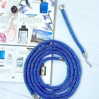Синий лариат Принцесса из чешского бисера Браслет в подарок!!