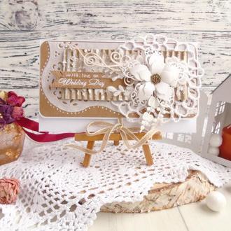 Подарочный конверт для денег в бело-крафтовом цвете