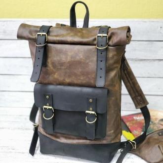 Мужской коричневый черный рюкзак ролтоп из натуральной кожи