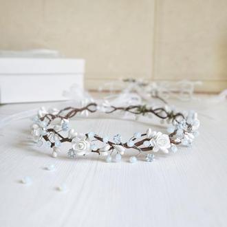 Веночек на голову для свадьбы, причастия, день рождения, фотосессию, выпускной/ Венок для волос