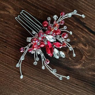 Свадебное украшение для волос, гребешок в прическу, украшение в прическу невесте, красная заколка