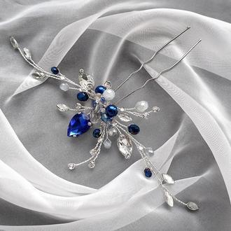 Свадебное украшение для волос, веточка в прическу, синее украшение в прическу, заколка в прическу