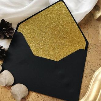 Чорний конверт з глітерним лайнером (золото)