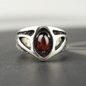 Серебряное кольцо с Гранатом 'TRINITY' | Женское кольцо размер 17,5
