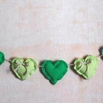 Гирлянда из сердечек зеленая, украшение на День Валентина