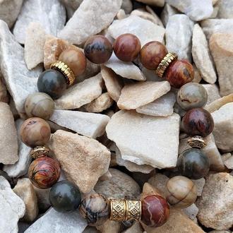 Браслет из натуральных камней, браслет из яшмы Пикассо, браслет на подарок, оберег