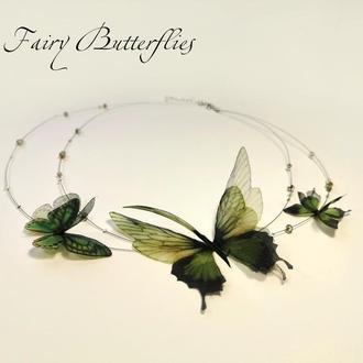 """Колье из шелковых бабочек Fairy Butterflies """"Сказки эльфов"""""""