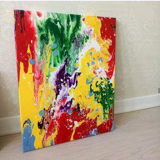 Картина акрил, 40*50, Абстракция Лето, холст на подрамнике