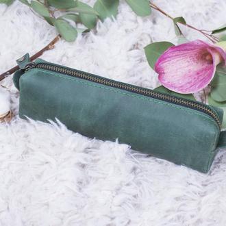 Кожаный зеленый пенал