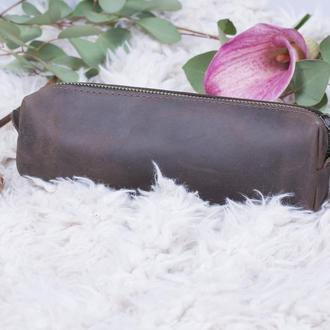 Кожаный коричневый пенал