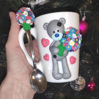 Набор с мишкой Тедди: чашка и ложка с декором