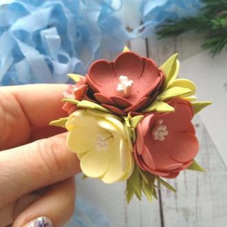 """Цветы на резинке """"Весенний вальс"""", резинки для волос, резинки в школку"""