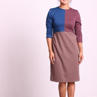 Платье из трёх трикотажей. Размер 44 (M)