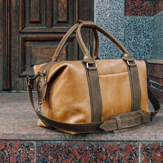 Спортивная кожаная сумка. Дорожная сумка из кожи Crazy Horse