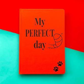 """Щоденник Хвіст та Вуса Diary """"My perfect day"""" недатований українською мовою Червоний"""