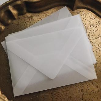 Конверт из кальки (полупрозрачный) под карточку А6 формата