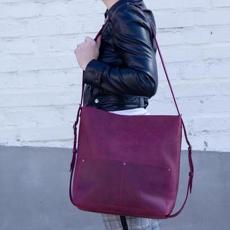 Большой кожаный рюкзак-трансформер бордовый