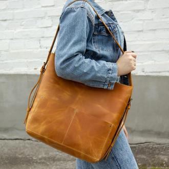 Большой кожаный рюкзак-трансформер желтый