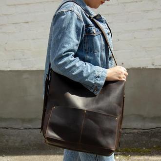 Большой кожаный рюкзак-трансформер коричневый