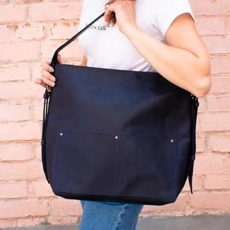 Большой кожаный рюкзак-трансформер синий