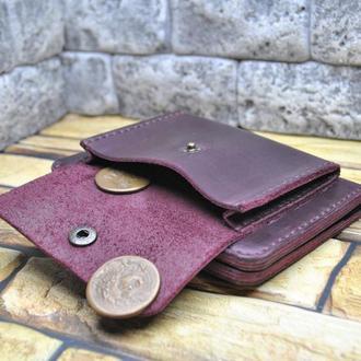 Вертикальный кошелек с наружной монетницей из кожи K90-800