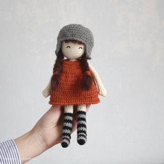 Игрушка мягкая вязаная кукла Pretty подарок девочке на праздник день рождения