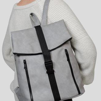 Женский вместительный серый рюкзак , нубук