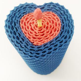 Свеча медовая в форме сердца гипоалергенная, декоративная свеча для дома и декора