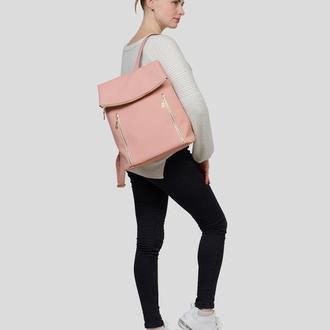 Вместительный женский пудровый рюкзак для учебы