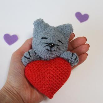 Валентинка - котик, Магнит Валентинка, Сердце с котиком, День Валентина подарок, валентинка вязаная