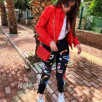 джинсы с рисунком в стиле Dolce Gabbana