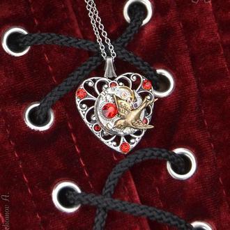 Винтажное сердце из посеребренной американской фурнитуры с механизмом ( 1 шт. в наличии)