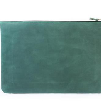Кожаный чехол для Macbook на молнии. 03001/зеленый
