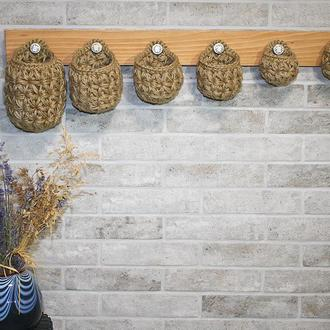 Вешалка органайзер настенная с корзинками из джута