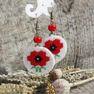 Серьги с красным кораллом Бохо сережки с маками Этнические украшения на лето