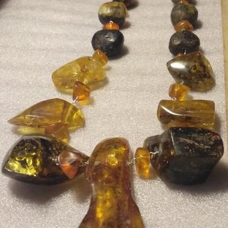 Янтарные бусы в стиле Бохо, бурштин, намисто, янтарь.