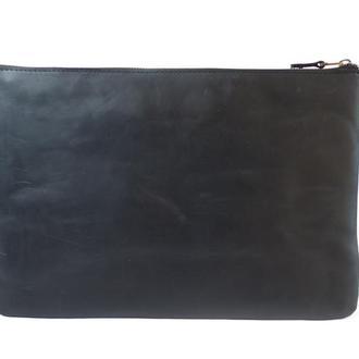 Кожаный чехол для Macbook на молнии. 03001/черный