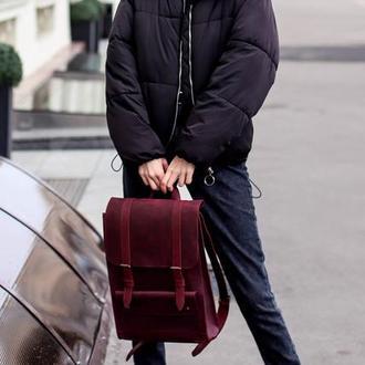 Бордовый женский рюкзак. Городской рюкзак из натуральной кожи