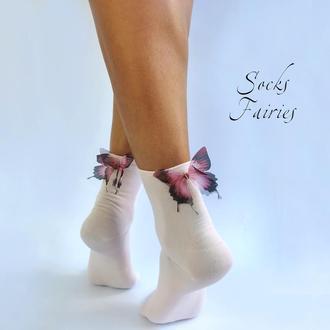Дизайнерские носочки с бабочками 6006 pink