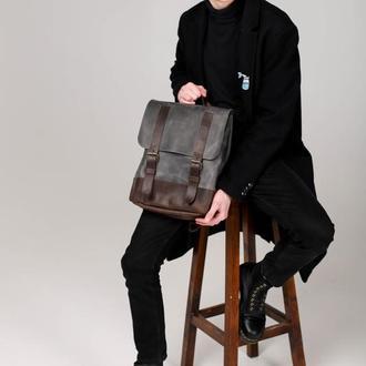 Серый кожаный рюкзак. Рюкзак серый унисекс. Мужской городской серый рюкзак. Женский кожаный рюкзак.
