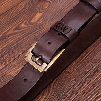Мужской кожаный ремень  Ремень с гравировкой