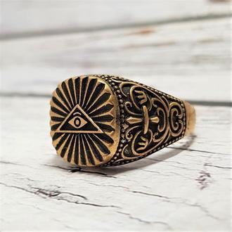 Масонская печатка кольцо Всевидящее око