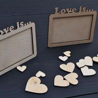 Деревянная фоторамка с гравировкой Love is... подарок на день рождения
