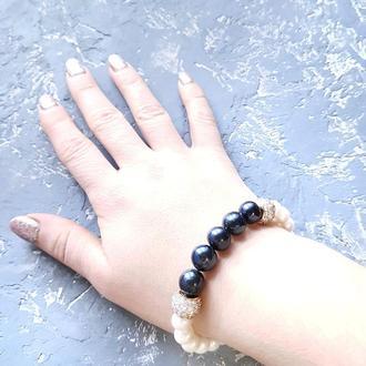 Браслет з натуральних перлів та кристалів браслет из натурального жемчуга подарок девушке жене