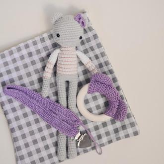 Набор для малышей (Грызунок, держатель для пустышки, игрушки)